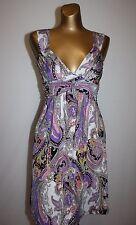 JOY JOY Paisley Print Multi-Color Stretch Knit Sundress DRESS Size XS
