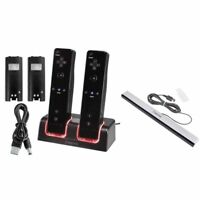 For Nintendo Wii Black Remote Control Dual Charging Station+Wired Sensor Bar