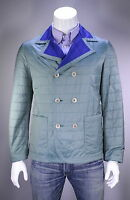NWT New * KITON * $5095 Aqua Quilted Silk w/ Cashmere Lined Lightweight Jacket M