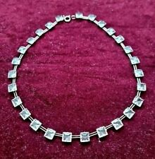 Vintage  Art Deco  Solid Silver & Faceted Crystal Necklace,
