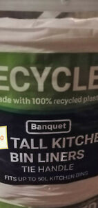 Choose from 1 - 40 Tie handle Tall kitchen bin liners fits up to 50L bins UK