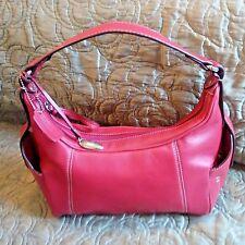St. John's Bay Genuine Leather Red Handbag Large Shoulder Satchel