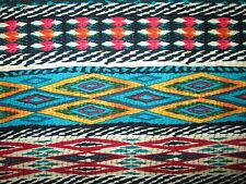 Native American DIamond Weave Fiesta Blanket Yellow Teal Blk Cotton Fabric BTHY