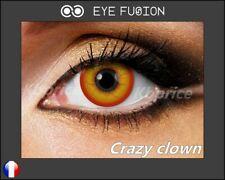 LENTILLES DE CONTACT FANTAISIE COULEUR ROUGE/JAUNE Halloween (Crazy Clown)+étui