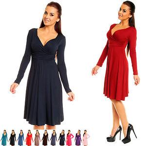Zeta Ville - Women's - Wrap V-neck Flare Dress Empire Line - Long Sleeves - 890z