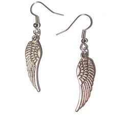 classic Angel Wings - Silver Plated Dangling Charm Earrings 3D french hook