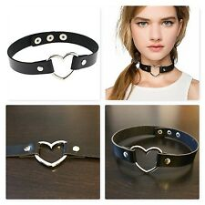 LEATHER O-RING ADJUSTABLE RIVET PUNK GOTHIC GOTH HEART COLLAR CHOKER NECKLACE UK