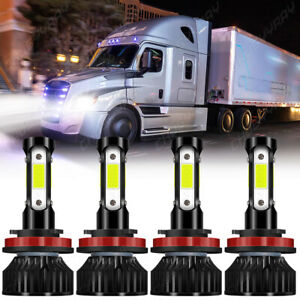 For Freightliner Cascadia 2008-2016 4x LED Headlight Bulbs H11+H9 High Low Beam