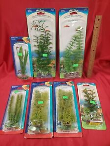 Set of 7 - Aquarium Fish Tank Plastic Plants Decor Decorations -Still in package