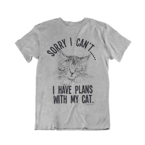 Sorry I Have Plans With My CAT Unisex T-Shirt Womens Men Funny Christmas Gift