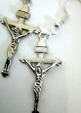 Cross Crucifix Christian Earrings Silver Jesus Christ God