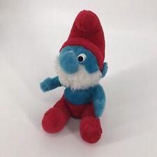"Vintage PAPA SMURF Plush Toy 1979 11"" Peyo Schleich 70's Cartoon Comic Blue"