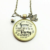 Grace and Strong Bible Verse Pendant Charm Necklace Brass by Gutsy Goodness