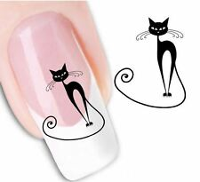 Trendy Colorful Black Cat Nail Water Decals Art Stickers Tattoo Paint