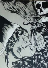 Dr.LAKRA Woman & Skull(Jeronimo Lopez Ramirez) HAND SIGNED Litho Mexican Artist