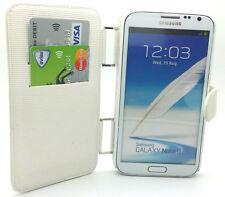 Elegante Blanco Cuero Billetera a presión Funda Samsung Galaxy Note II Note 2 N7100