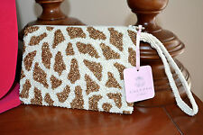 NWT $75 MOYNA Beaded SILK Small Leopard Wristlet Clutch Evening Bag Ivory Gold