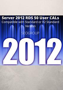 Server 2012 Remote Desktop Services RDS 50 USER CAL for R2/Standard