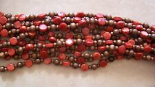 "54"" Long Strand Red Sponge Coral Coin & Wood Round Beads 6mm-12mm Necklace"