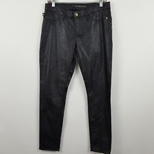 Rock & Republic Skinny Kashmiere Black Polyurethane Women's Pants Sz 8M - 30x28