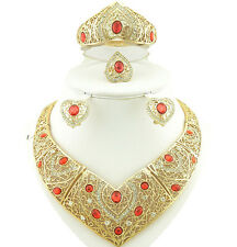 Red Lovely Love Heart Design Gold Plated Rhinestones Bridal Party Jewellery Set