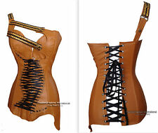 Brown Faux Leather Corset Bustier Overbust  Steampunk  Costume lace up Gothic