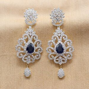 Cubic Zirconia Sapphire Yellow Gold Plated Earrings 14 BLE 29