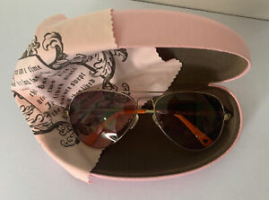 Juicy Couture Gold Aviator Sunglasses With Pink Case And Cleaning Cloth (I-118)