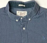 Penguin Original Mens XL Slim Fit Blue Check Short Sleeve Button Down Shirt