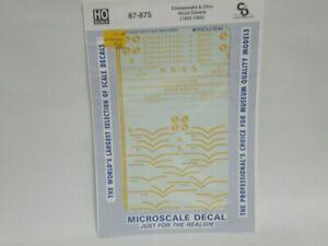 HO Microscale Decals 87-875 Chesapeake & Ohio Hood Diesels 1950-1960 C&O