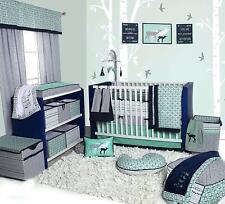 Crib Bedding Set Bacati Noah Tribal 10 Pc Nursery Baby Mint Navy Boy Girl NEW