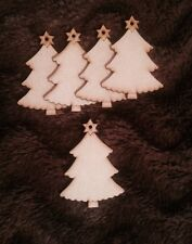 5x Trees - Christmas Xmas Wooden  Craft Blank Gift Tag 3 Mm Mdf Laser Cut