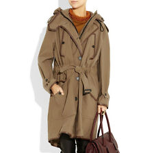 $2,595 Burberry Prorsum 36 fit 4 6 8 Leather Trim Parka Women Trench Coat Jacket
