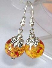 Awesome! Tibet Resin Amber color beads silver hook Earrings
