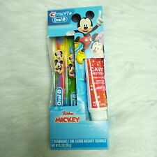 New CREST  ORAL-B Disney Junior Mickey 2 Toothbrushes and Anti cavity Toothpaste