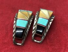 Native American Zuni Turquoise Sterling Silver watch tips Signed Vintage