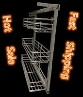 Spice Rack for Base Cabinet Pull Out 3 Shelves Polish Chrome Storage Organizer