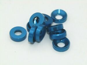 Jet Racing 4mm Alloy Countersunk Washer (10pcs/ Blue) For Asscoiated, Tamiya Etc