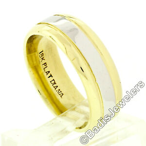 Vintage Unisex Solid Platinum & 18k Gold Heavy Polished Wedding Band Ring 10.93g