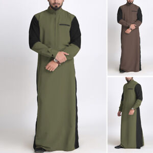 Men's Muslim Clothing Long Sleeve Saudi Islamic Arab Kaftan Thobe Maxi Dress Top