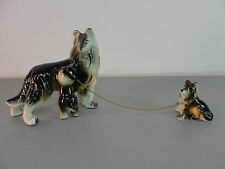 🐾 PORCELAIN CERAMIC COLLIE DOG DOGGY MOM PUPPY PUP CHAIN FIGURINE SET 3 VINTAGE