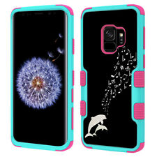 3-Layer Phone Case (Teal/Pink) for Samsung Galaxy S9 - Dolphin Music