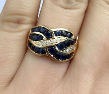 14K Solid Gold Cluster Band Diamond Ring With Natural Round Sapphire, Sz 7.25