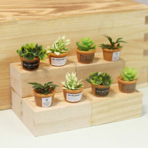 4pcs 1:12 Dollhouse Miniature Mini Resin Potted Plant Doll Model Accessories
