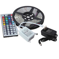 5M 3528 RGB 300 LED SMD Flexible Light Strip Lamp + Remote +12V 2A Power Supply