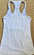 LULULEMON CRB COOL RACERBACK Tank Top size 4 White Floral Lace  EUC Gym Run Yoga