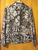 Women's CHICO'S Button Up Dressy Blouse Shirt Top Size 1 Black & White Floral