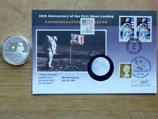 """Moonlanding médaille/Housse """"THE EAGLE HAS LANDED"""" + Kennedy double handstamps"""