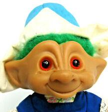 Vintage Ace Novelty Treasure Troll Dutch Girl Green Hair Blue Teardrop Belly Gem