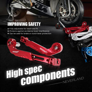 """Universal 2x Red AltronGuard 7/8"""" Brake Clutch Lever Guards Protector Protection"""
